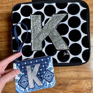 Monogram Initial K Polka Dot Lunchbox Coin Purse